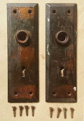 5 Pairs avail Antique Vintage Copper Steel Knob Door Plate Escutcheon Key Cover