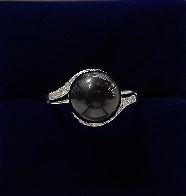 Black Pearl Ring with Diamond Twist Shoulders in 18ct White Gold - Size N 1/2