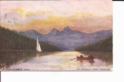 """1905 """"Oilette"""" postcard """"The Langdale Pikes - Bowness"""" by R E Richardson"""