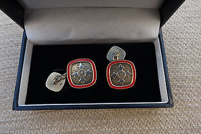 Antique Masonic Cufflinks solid silver with red enamel gold gilt quality pieces