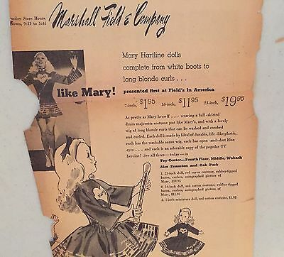 Mary Hartline Dolls 1952 Chicago Tribune Ad, Autographed To Buyer