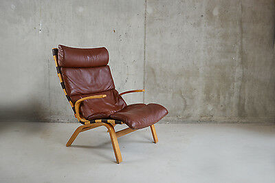 Farstrup Danish 1970's mid century high backed leather and beech lounge chair