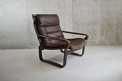 Danish 1970's mid century modern stained beech and leather lounge chair