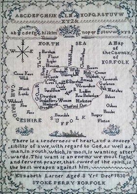 Rare Early 19thC English Antique Map Sampler of Norfolk Dated 1830 Tapestry