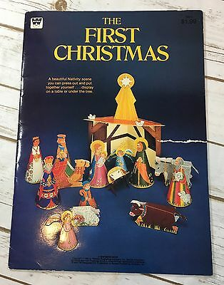 Vintage The First Christmas Nativity Scene Die Cut Punch Out Book 1982 Whitman