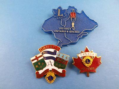 Lions Club Canada  Vintage Pin Lot Rcmp 50Yeaer District A Ontario Quebec