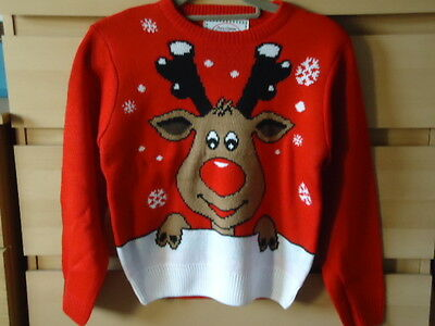 New Kids Red Rudolph Jumper sz 8-9 years measurements shown on photos