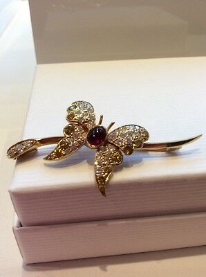 18ct gold cabouchon ruby yellow and white diamond set butterfly brooch