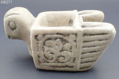 Ancient Rare Stone Carve Medieval Oil Lamp with Bird Head #271