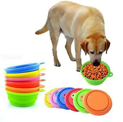Pet Dog Cat Folding Dish Red Bowl Collapsible Travel Portable Water Feeding
