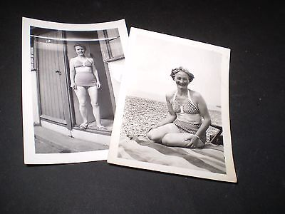 social history 1940's glamour lady in bathing costume fashion 2 photographs