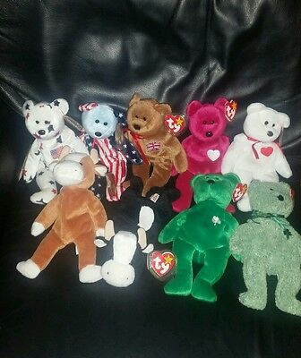 TY BEANIE BABIES collectable/vintage/rare all retired 1994-2001 x 9 bears