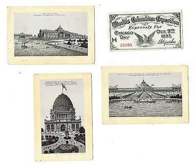 1893 Columbian Exposition Chicago Ticket & Jersey Coffee View Cards!