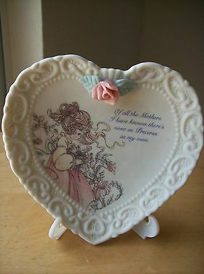 """1994 Precious Moments Heart Shaped """"Mother"""" Plate with Stand"""