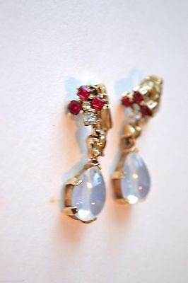 DANGLING Trifari CLAIR de LUNE with RED Square & Moonstone Teardrop Earrings