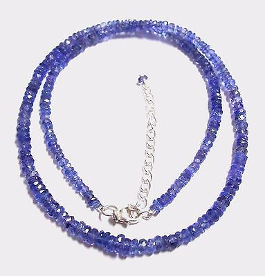 CHRISTMAS GIFTS Natural Tanzanite Gemstone Bead 925 Sterling Silver Necklace 16""