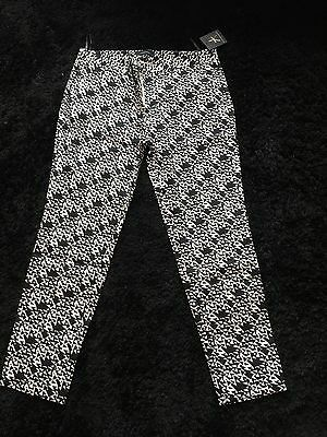 Ladies Tapered Black And White Trousers Size 12