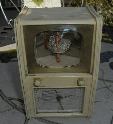 Vintage Spinning Muscal Ballerina Clock Spares Or Repair.
