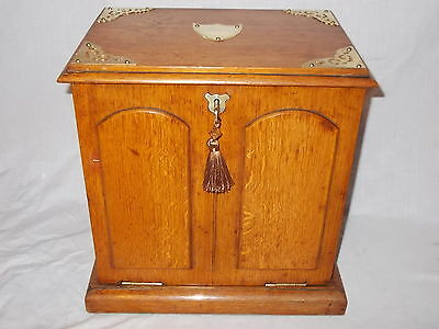 Large Antique Victorian Oak Desk Table Top Stationery Writing Slope Cabinet Box