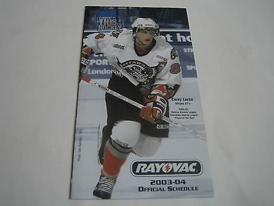 2003/04 Ohl Ontario Hockey League Official Schedule***corey Locke Ottawa 67S***