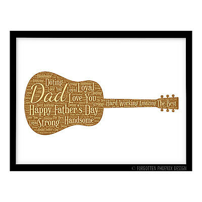 Personalised Father's Day Gift – Musician Guitar Music Dad Daddy A4 Print