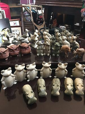 46 Wooden Hand Carved Suar Animals Ducks Cats Owls Hippos Rabbits Pigs Elephants