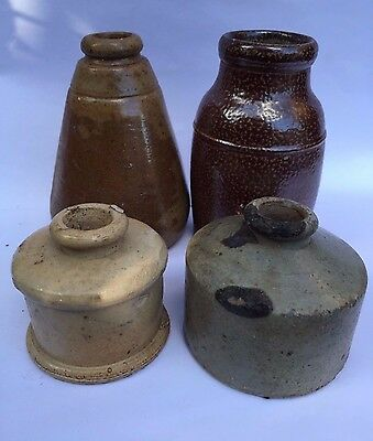 Stunning Group Early Stoneware Items Inks / Pots