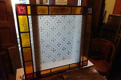 Etched Glass Leaded Lights / Stained Glass Panels  X3.