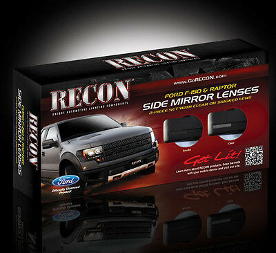 Recon SMOKED LED SIDE MIRROR LENSES Ford F150 & Raptor 09-14 # 264240BK