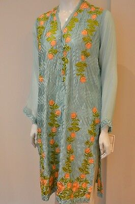 Agha Noor Silk Light Blue Kurta With Embroidery Available In Size S, M And L