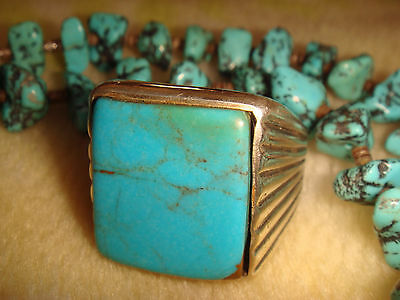 VTG. EARLY OLD PAWN NAVAJO 24.9 gr. STERLING SILVER & TURQUOISE MENS RING 10 1/2
