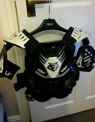child wulf sport body armour black and silver fit size 75 - 90cm chest worn once