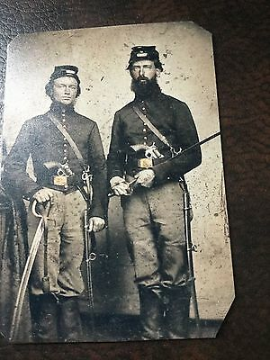 2 Civil War Military Soldiers With Swords TinType C229NP