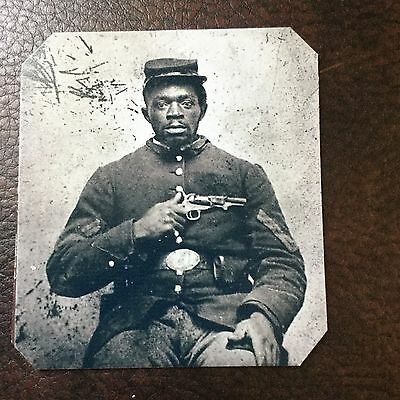 Civil War African American Union Soldier With Pistol  TinType C725NP