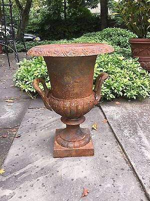"Vintage Cast Iron Urn French Country Rusty Patina 17"" Excellent"