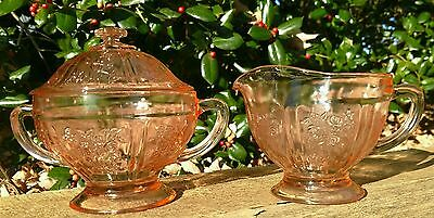 Authentic Federal SHARON/CABBAGE ROSE PINK  CREAMER & SUGAR w/LID