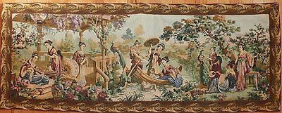 "Antique / vintage French Wall Hanging Tapestry 55"" x 21.5"" Asian scene."