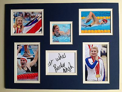 """Swimming Rebecca Adlington Signed 16""""x12"""" Double Mounted Picture Display"""