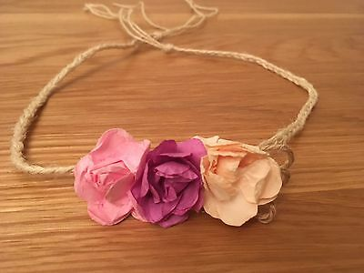 Rustic Tie Back Headband Newborn + Baby  Photo Prop Pink Cream Flower Baby Halo