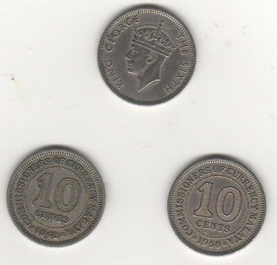 A date run of 10 cent coins from Malaya