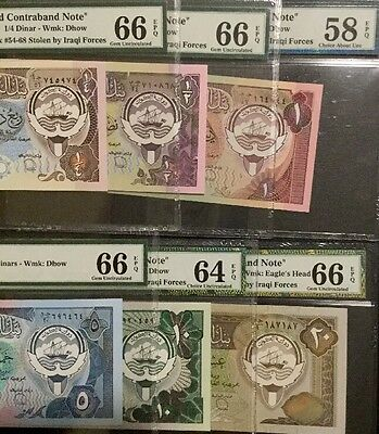 Kuwait Banknotes Full Set (1980-91). Graded By PMG