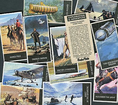 "Quaker Oats 1974 Full Set Of 12 ""exploration & Adventure"" Package Trade Cards"
