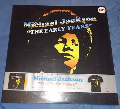 michael jackson the early years boxset t-shirt, colored vinyl sealed very rare