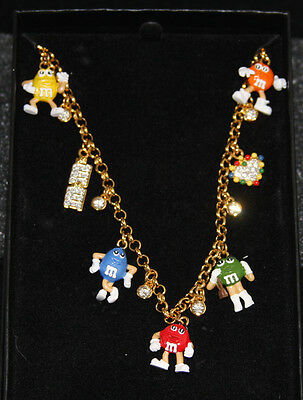 """Danbury Mint M&M's """"Charm Necklace (7 Charms, 6 Crystals)"""" NIB - 24K Gold Plated"""