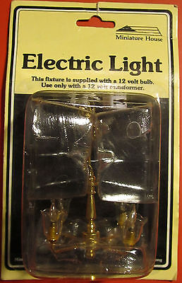 MINIATURE HOUSE Brand Doll House Chandelier-4 Arm Brass W/ Clear Tulip Sconces