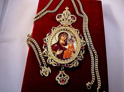 "Panagia Mother of God. Priest Pectoral cross 7.87""  engolpion BEST OFFER!!! -50%"