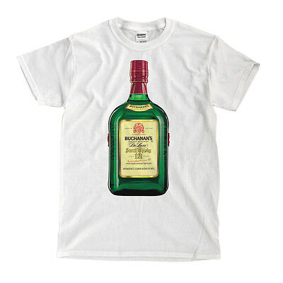 Buchanan's Scotch Whiskey Bottle White T-Shirt - Ships Fast! High Quality!