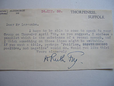 Typed letter signed by the writer and pacifist, Anna Ruth Fry, 1938