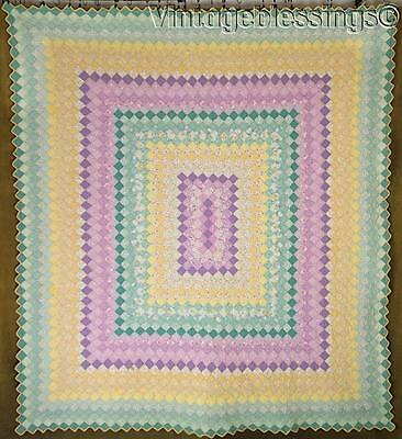 """Outstanding! Tiny Pieces Vintage 30s Feedsack QUILT Trip Around World 81x73"""""""