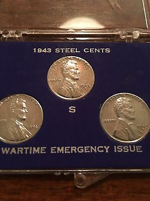 1943 Steel American Cents, Time Emergency Collector Set (all three mints)